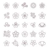 Spring flower thin line vector icons set vector illustration