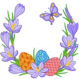Spring flower vignette of crocuses and easter eggs. Background for design of cards to the Easter.  Royalty Free Stock Photos