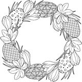 Spring flower wreath of crocuses and easter egss. Vector elements isolated. Black and white image for adult relaxation. Backgrou. Spring flower wreath of Royalty Free Stock Images