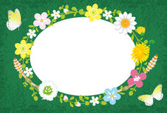 Spring Flower Wreath-Ellipse Green Royalty Free Stock Photo