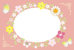 Spring Flower Wreath-Ellipse pink Royalty Free Stock Photos