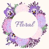 Spring flower wreath and floral frame borderl stock illustration