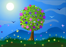 Spring. Flowering tree, mountains and flowers. Vector illustration. Spring. Flowering tree, mountains and flowers Royalty Free Stock Images