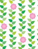 Spring flowers. Green leaves and pink flowers seamless pattern for kids royalty free illustration