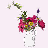 Spring flowers. Sketch of spring flowers in a vase Royalty Free Stock Images