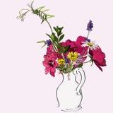 Spring flowers. Sketch of spring flowers in a vase vector illustration