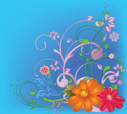 Spring flowers. Festive card with multi-colored florets Royalty Free Stock Photos