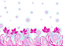 Spring flowers. Purple flowers and polka dots royalty free illustration