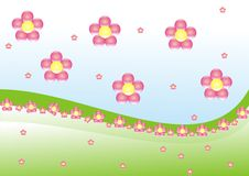 Spring flowers. Pink flowers landscape blue sky Royalty Free Stock Photo