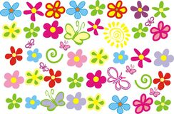 Spring flowers. Colorfull spring flowers and colorated butterflys Royalty Free Stock Images