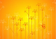 Spring flowers. With butterfly on a yellow orange background Royalty Free Stock Photo