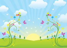 Spring and flowers. A vector spring composition Stock Images