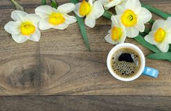 Free Spring Flowers And A Cup Of Coffee On A Wooden Table. Copy Spaces Stock Images - 145218094