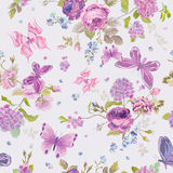Spring Flowers Background with Butterflies Stock Photos