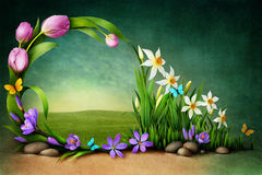 Spring flowers. Spring background for greeting card or illustration. Computer graphics
