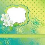 Spring flowers background and polka dot. Design te Royalty Free Stock Photography