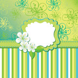 Spring flowers background and strips. Design templ Royalty Free Stock Image