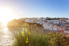 Spring flowers in the background of the town of Carvoeiro. Stock Photo