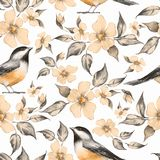 Spring flowers and birds. Seamless pattern Stock Photo