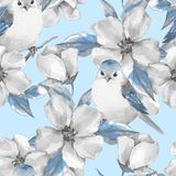 Spring flowers and birds. Seamless pattern. Spring flowers and birds. Watercolor floral seamless pattern Stock Photography