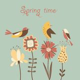 Spring flowers and birds. Stylized spring flowers and birds Stock Photography