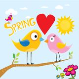 Spring flowers and birds vector background. Stock Photo