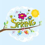 Spring flowers and birds vector background. Vector spring landscape illustration. This is file of EPS8 format Stock Photos