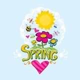 Spring flowers and birds vector background. Vector spring landscape illustration. This is file of EPS8 format Royalty Free Stock Photos