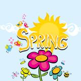 Spring flowers and birds vector background. Vector spring landscape illustration. This is file of EPS8 format Stock Photography