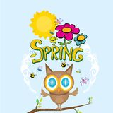 Spring flowers and birds vector background. Vector spring landscape illustration. This is file of EPS8 format Stock Images