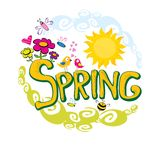 Spring flowers and birds vector background. Royalty Free Stock Image