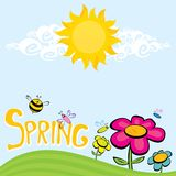 Spring flowers and birds vector background. Vector spring landscape illustration. This is file of EPS8 format Stock Image