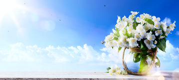 Spring flowers a blue sky background; Spring or summer Nature b stock photography