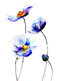 Spring flowers. Blue Spring flowers, watercolor illustration Royalty Free Stock Images