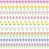 Spring flowers border patterns Royalty Free Stock Photography