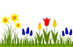 Spring flowers border Stock Photo