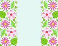 Spring flowers border. Vector illustration. Stock Photo