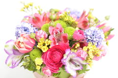 Spring flowers bouquet. Bouquet of colorful spring flowers over a white background Stock Photography