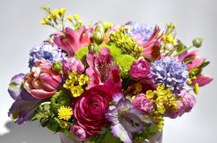Spring flowers bouquet. Bouquet of colorful spring flowers over a white background Royalty Free Stock Photo
