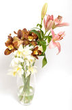Spring flowers bouquet. Bouquet of colorful spring flowers over a white background Royalty Free Stock Photography