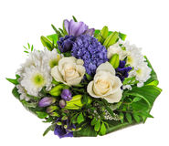 Spring flowers bouquet. Fresh hyacinth and roses Stock Photo