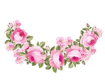Spring flowers bouquet. Spring flowers bouquet of red rose garland. Vector illustration Stock Photos