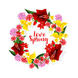 Spring flowers bouquet or vector floral wreath Royalty Free Stock Images