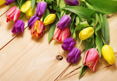Spring Flowers bunch at wood floor texture. Beautiful Tulips bou Royalty Free Stock Images