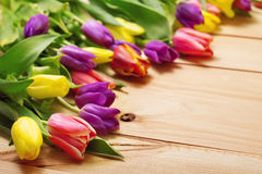 Spring Flowers bunch at wood floor texture. Beautiful Tulips bou Stock Image
