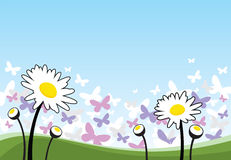 Spring flowers and butterflies. Illustrative spring flowers and butterflies on a clear sky background Royalty Free Stock Photography