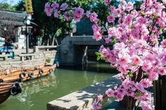 Spring Flowers from China. Beautiful spring flowers with channel view in Suzhou China Stock Photos