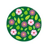Spring flowers, circle pattern. Vector illustration. Stock Image