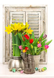 Spring flowers and colored easter eggs. tulips and narcissus Royalty Free Stock Image