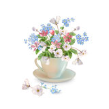 Spring Flowers in Cup Stock Photography